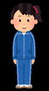 ジャージを着た女性のイラスト(青)