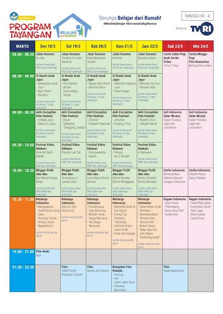 Jadwal & Materi Belajar dari Rumah TVRI 18-23 Mei 2020