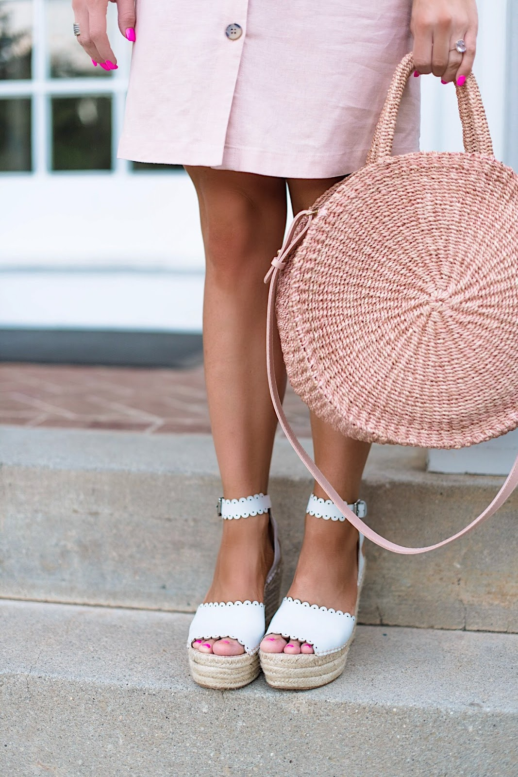 Scallop Wedges and Clare V. Alice Bag in Blush - Something Delightful Blog