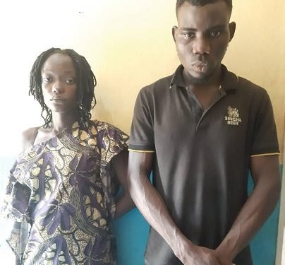 shocking!!; Man and his wife are arrested in Ogun State for humiliating the man's ex-girlfriend and inserting a bottle in her Vagina