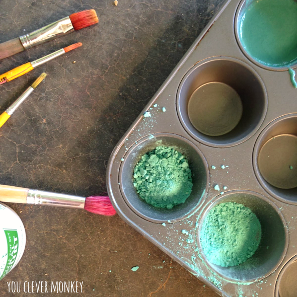 DIY Chalk Paint Recipe - make your own cheap paint by hand. Perfect for young children to make independently and learn how new colours are made | you clever monkey