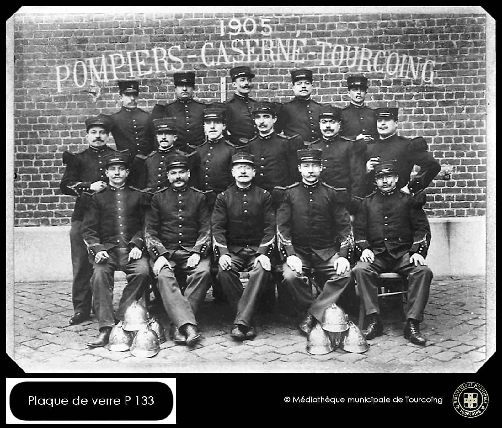 Photo sur plaque de verre - 1905 Pompiers Tourcoing
