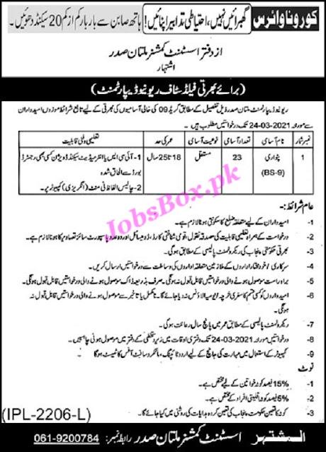 revenue-department-multan-jobs-2021-latest-application-form