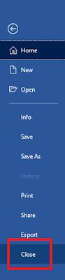 Pilih Close Untuk Menutup Program Microsoft Word