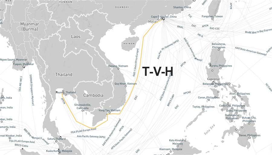 Hình 6 - Cáp quang biển T-V-H (Thailand-Vietnam-Hong Kong)