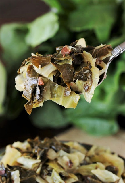 Serving Spoon of Southern Collards & Cabbage Mixed Greens Image