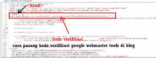 cara pasang kode verifikasi google webmaster tools