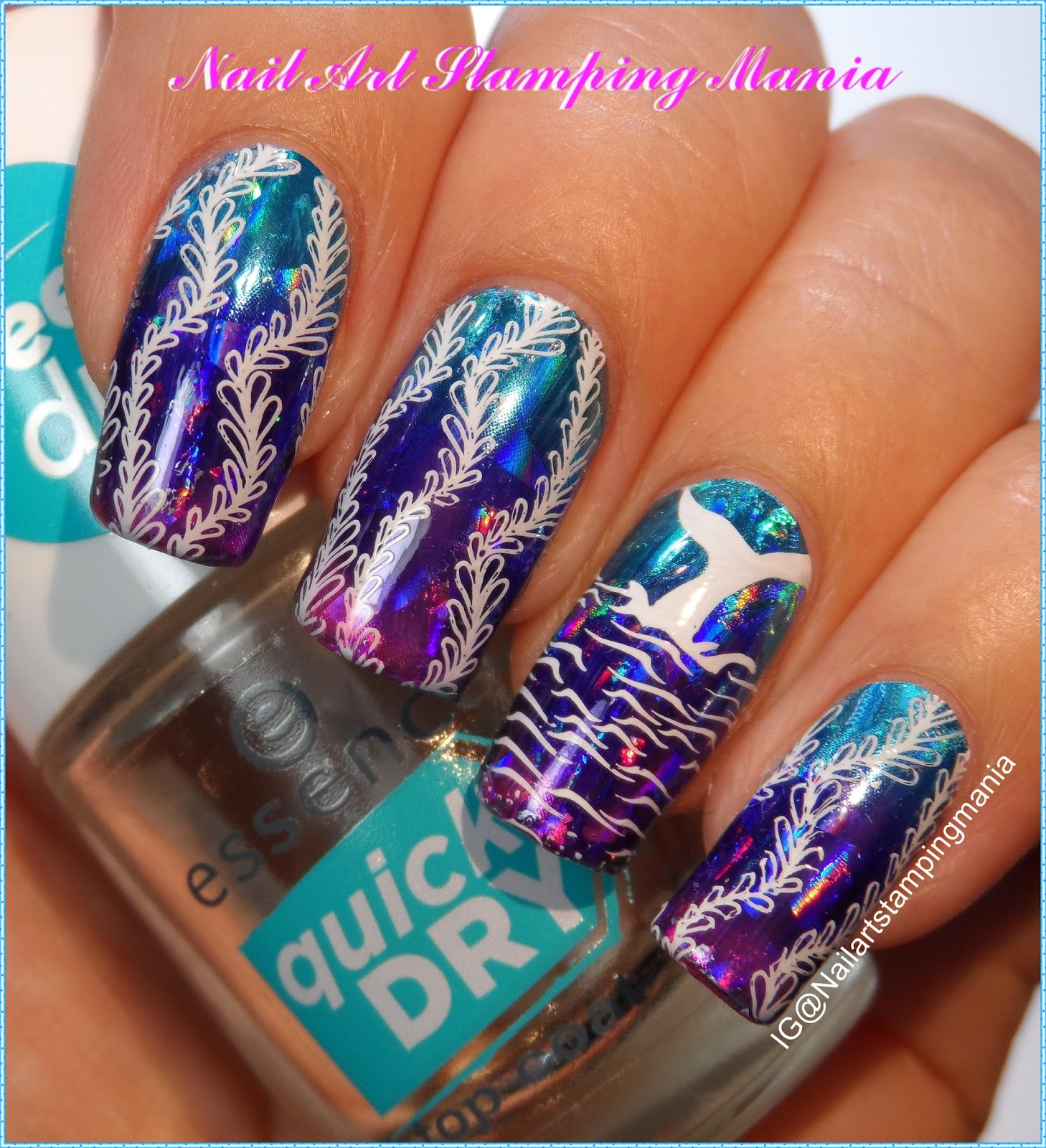 Nail Art Stamping Mania: Ocean Manicure with Nail Foil and Creative ...