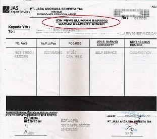 Contoh Form DO Udara JAS Cargo Indonesia