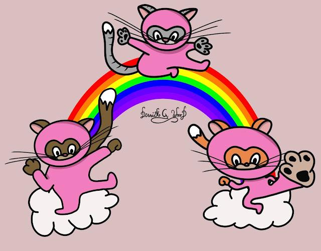 ninja cat cats pink kittens kitties rainbow martial arts cute adorable funny