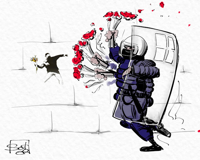 Αφορμή για το σκίτσο, η καταστροφή από αστυνομικό ενός μπουκέτου λουλουδιών, αφιερωμένου στην μνήμη του δολοφονημένου (από αστυνομικό) 15χρονου Αλέξη Γρηγορόπουλου. #grigoropoulos #tv #vaccine #γρηγοροπουλος #politicalcartoon #cartoon #politicalcartoons #σκίτσο #skitso #skitsobiz #soter www.skitso.biz