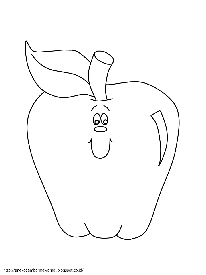 Gambar Mewarnai Buah Apel Untuk Anak PAUD dan TK 1
