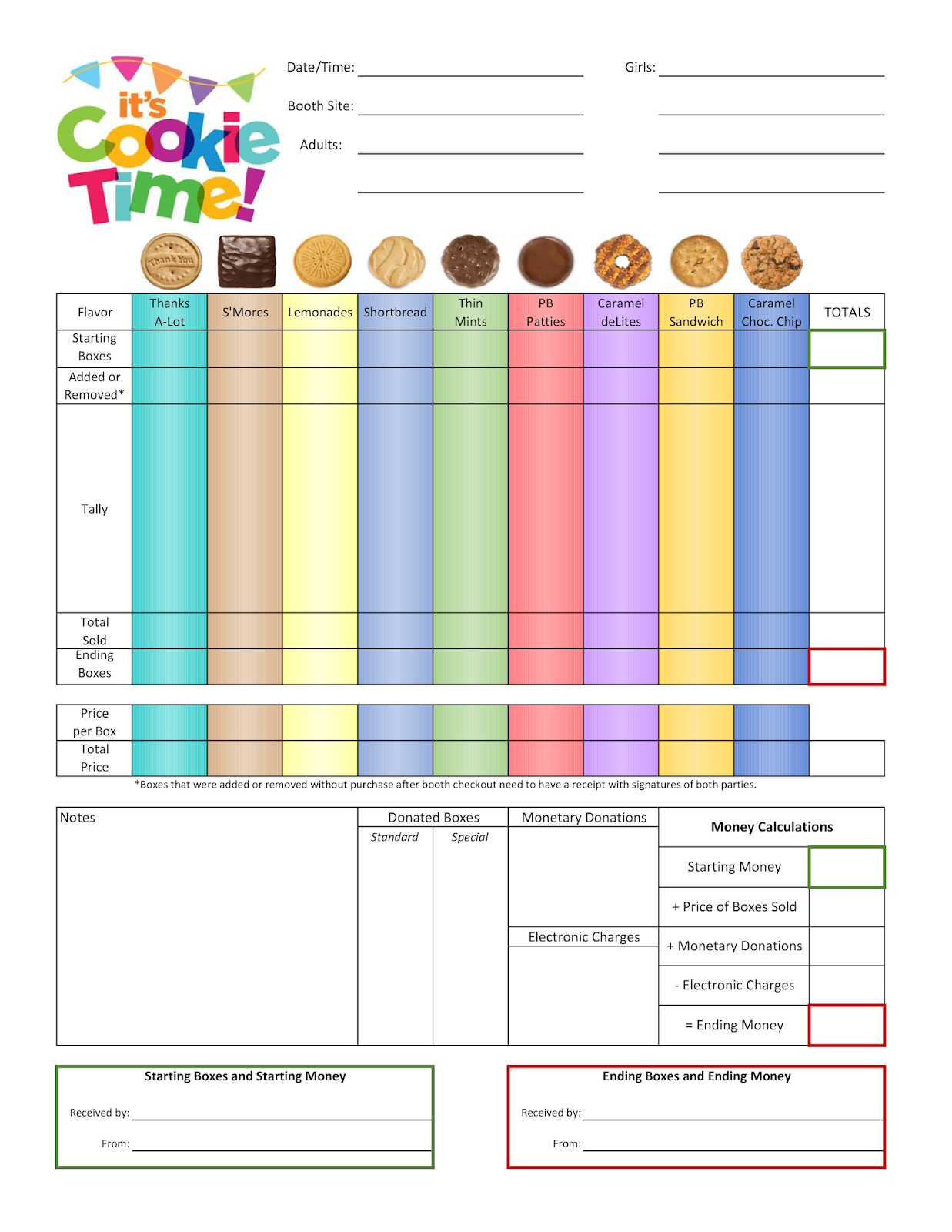 Scout Cookie Order Form
