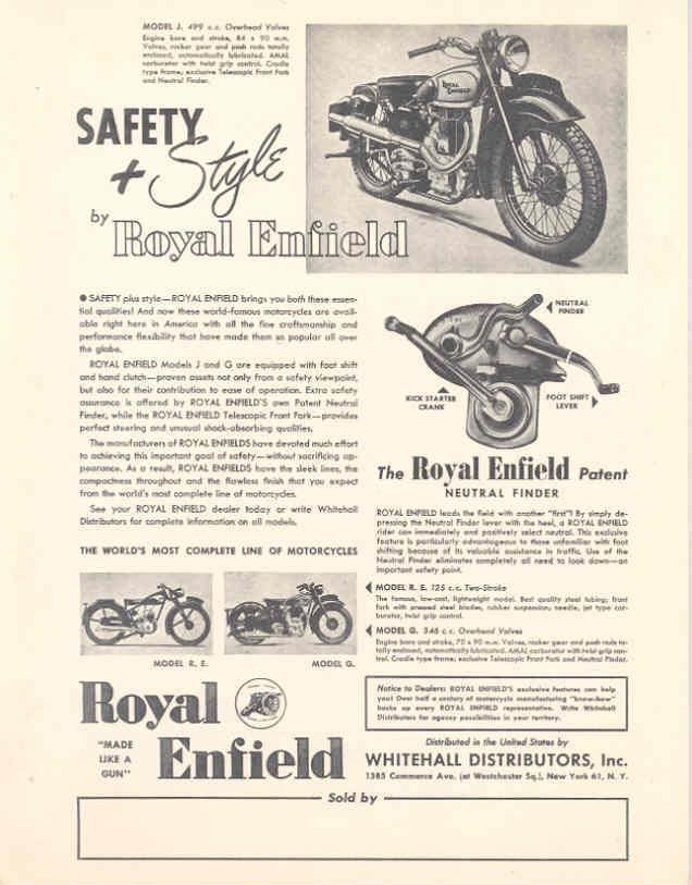 Motorcycle ad features neutral finder.