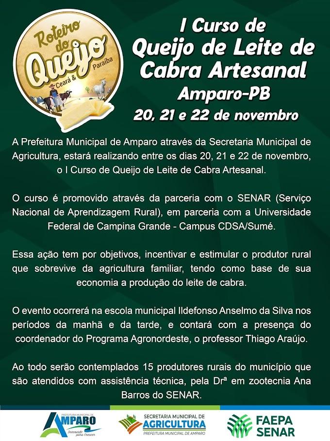 Prefeitura de Amparo realizará I Curso de Queijo de Leite de Cabra Artesanal através do SENAR em parceria com a UFCG