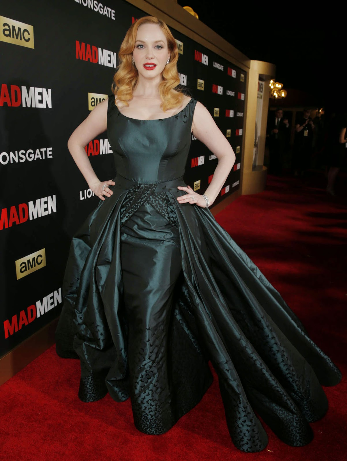 Christina Hendricks in a Zac Posen ball gown at the AMC 'Mad Men' Black and Red Ball in LA