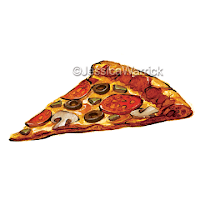 An original, watercolor and digital pizza clipart illustration great for small business use and fun, personal projects.