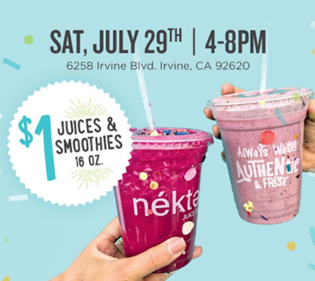 July 29 | Nekter Juice Bar Grand Opening In Irvine Offers $1 Juices and Smoothies Deal