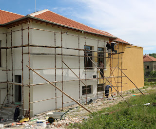 The painting started on the back wall