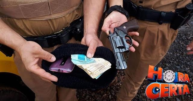 Dupla realiza assalto a residência na cidade de Iretama, troca tiros com a PM e um deles acaba preso