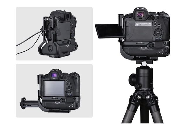 Sunwayfoto PCL-R5G on EOS R5 w/ BG-R10 battery and connectors