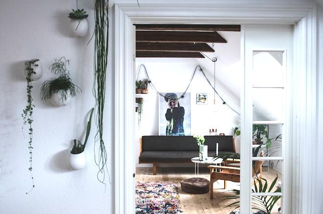 salón relajante de un piso de estudiantes. Muchas plantas y paredes en blanco y negro