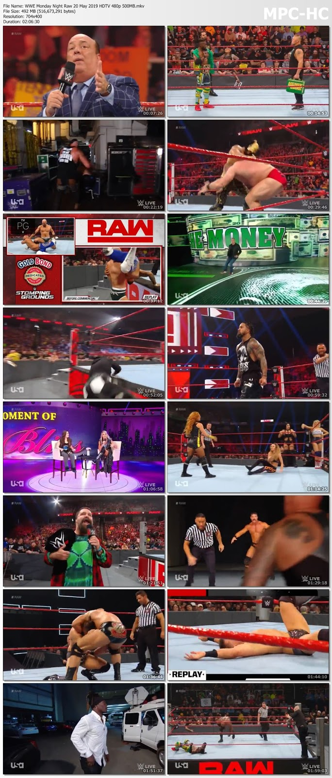 Screen Shoot of WWE Monday Night Raw 20 May 2019 HDTV 480p 500MB