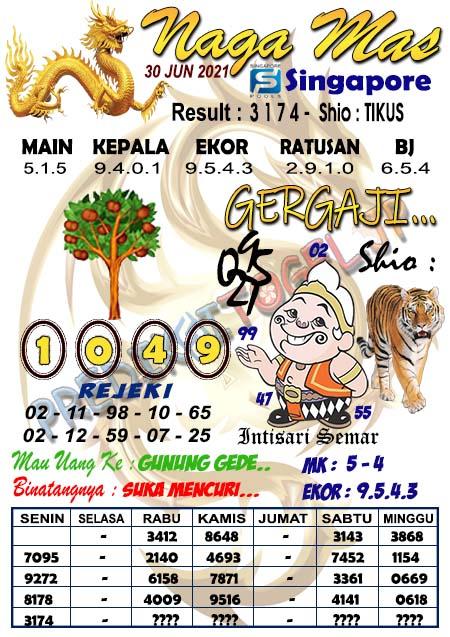 Syair Naga Mas SGP Rabu 30 Juni 2021