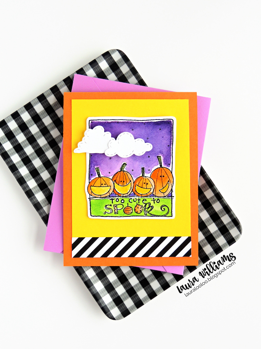 """a cute handmade Halloween card with a stamped row of pumpkins and the sentiment """"Too Cute to Spook"""". The image is colored with bright watercolor paints and on a yellow background."""