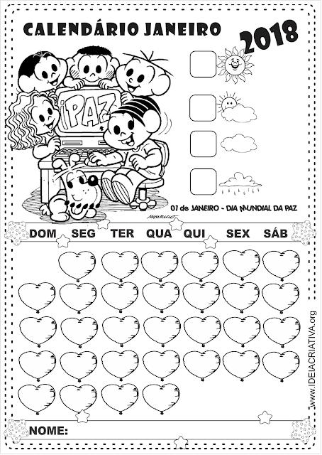 Calendários 2018 Turma da Mônica para imprimir