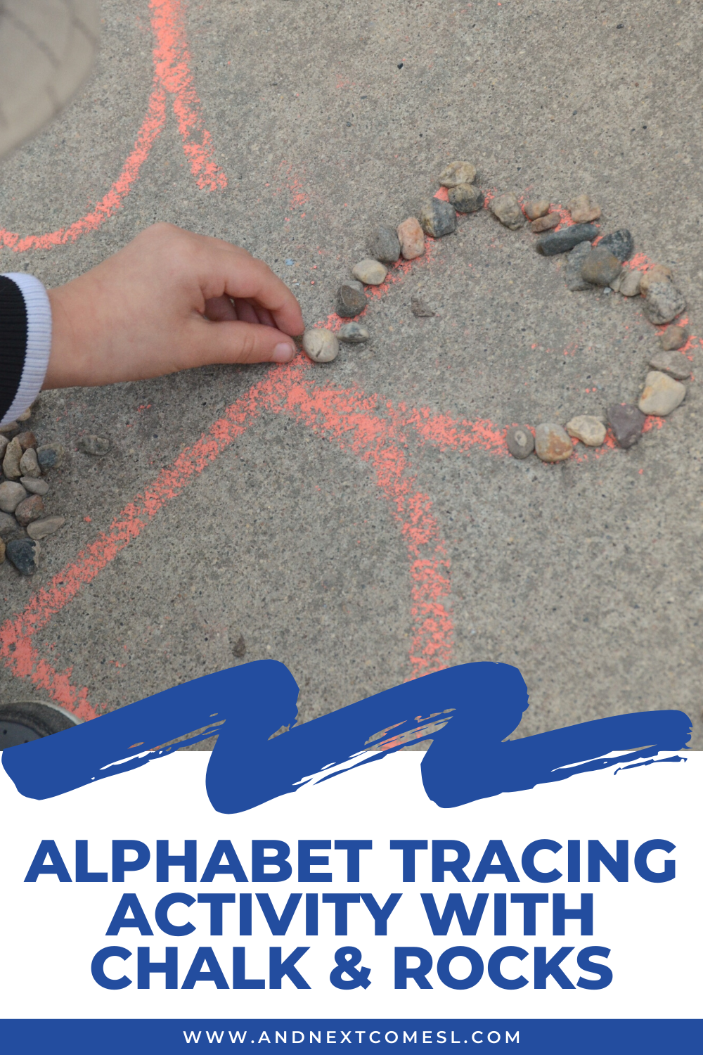 Outdoor alphabet tracing activity for kids using chalk and small rocks - a fun preschool activity for practicing tracing letters