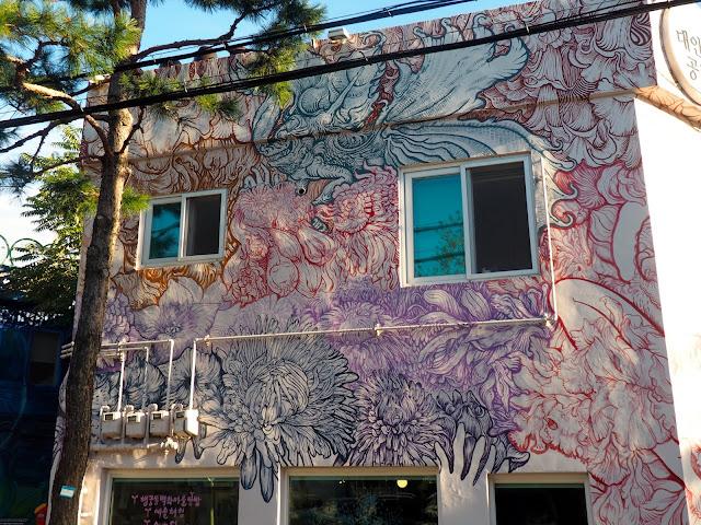 Colourful patterns of street art in the Haenggung-dong mural village in Suwon, South Korea