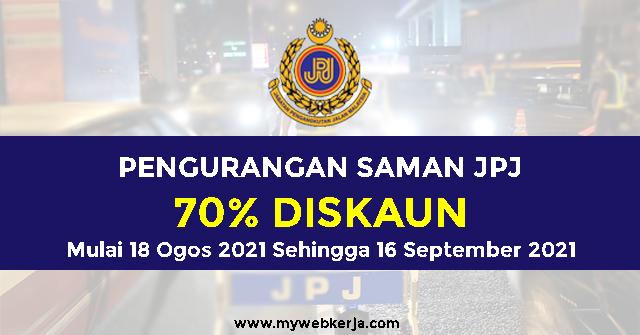 Pengurangan Saman JPJ sebanyak 70% Mulai 18 Ogos- 16 September 2021