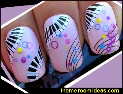 Nail art set wraps water transfers stickers decals piano keys & music notes