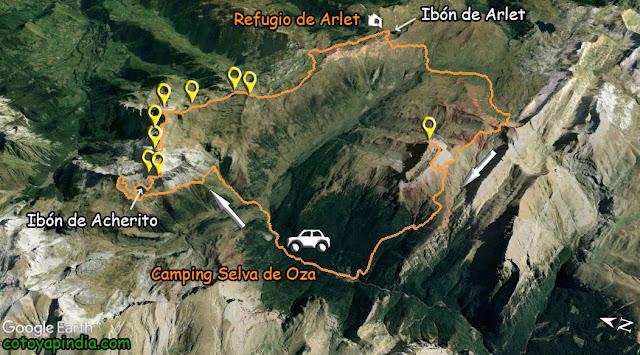 Mapa de la ruta al Ibón de Acherito y Castillo de Acher desde la Selva de Oza.