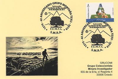 Tarjeta del matasellos del 40 Aniversario del Grupo de Montaña Texu de San Martín del Rey Aurelio