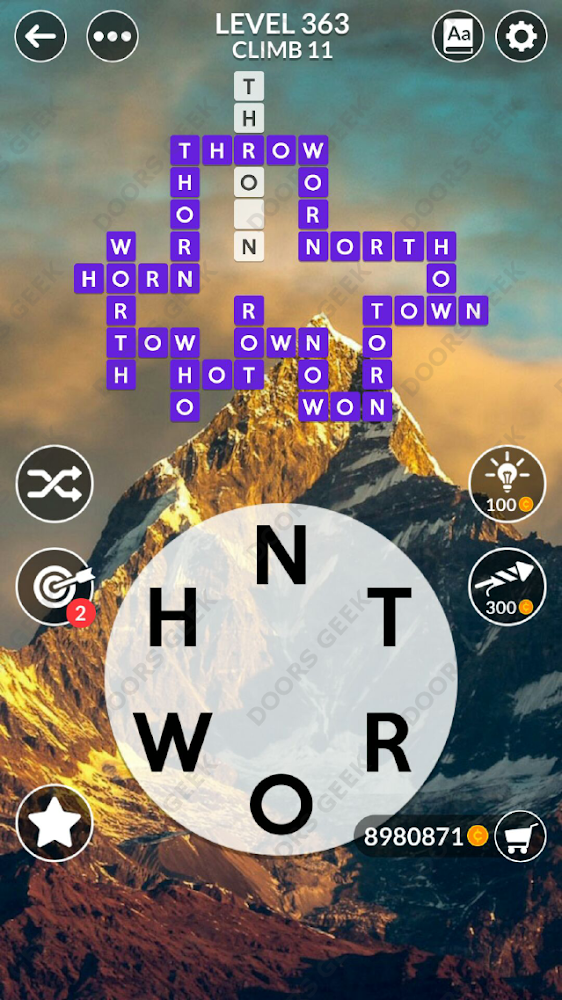 Wordscapes Level 363 answers, cheats, solution for android and ios devices.