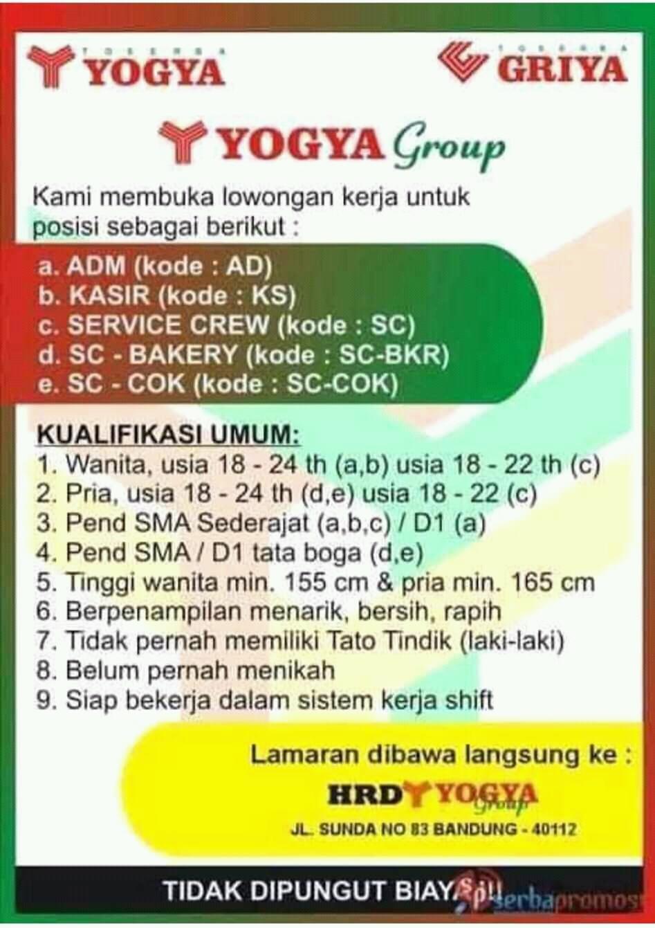 Lowongan Kerja Yogya Group Bandung Info Loker Bdg Informasi Lowongan Kerja Bandung