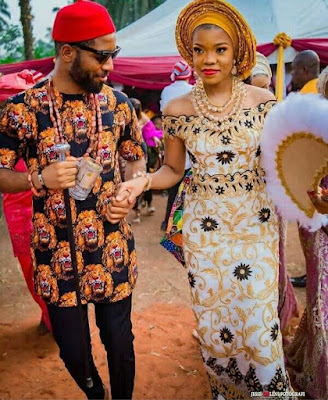 beautiful Igbo couple attire