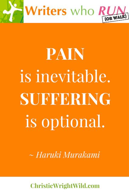 """Pain is inevitable. Suffering is optional."" ~ Haruki Murakami || inspiring literary quote race signs, motivational marathon signs"