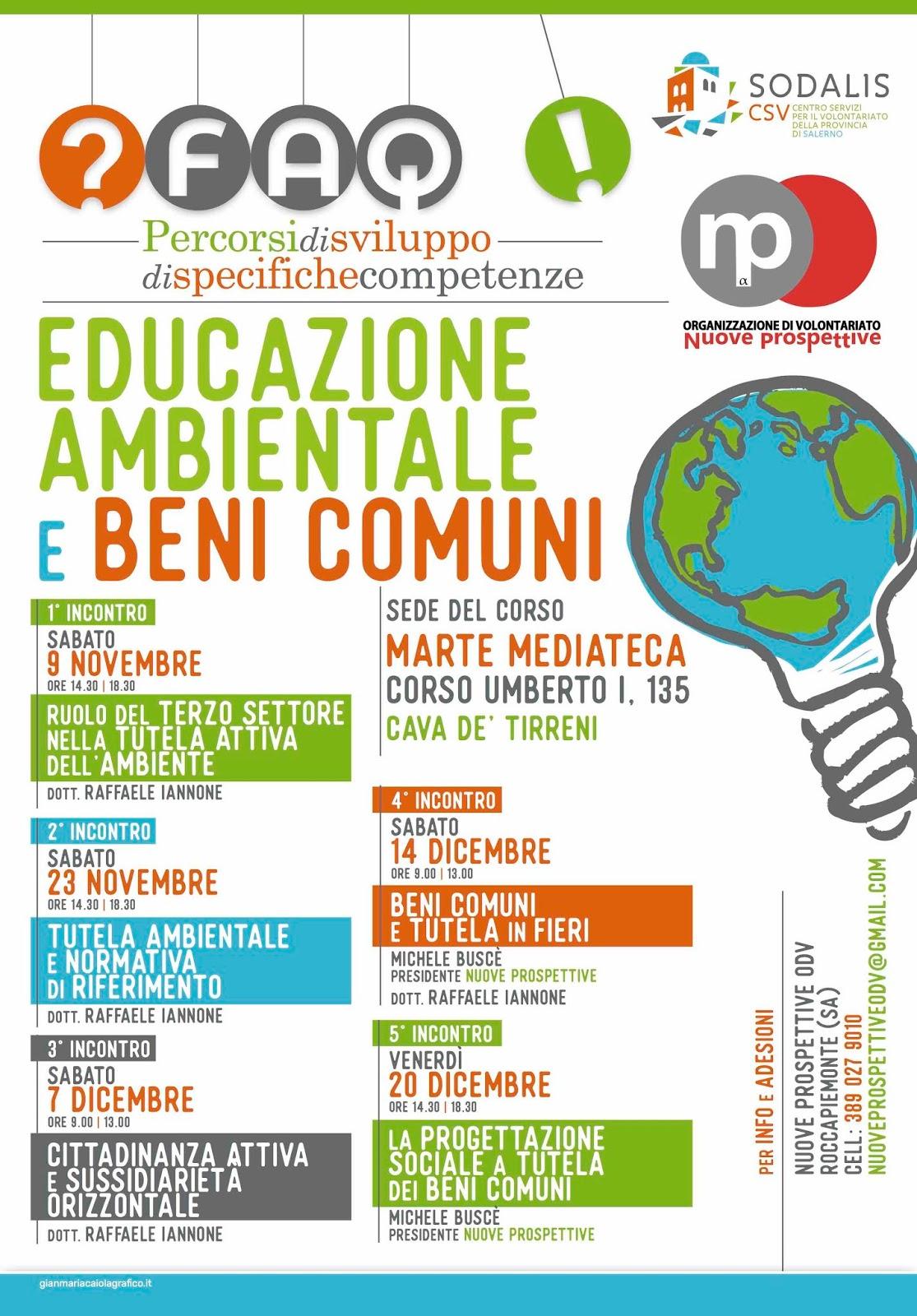 Locandina Educazione Ambientale e Beni Comuni - Organizzazione di Volontariato Nuove Prospettive.
