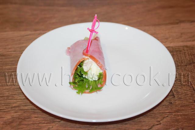 рецепт ветчинных рулетиков с творожным сыром с пошаговыми фото