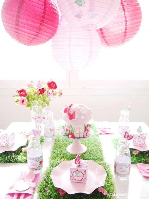 Pink Pixie Fairy Birthday Party Kids Table - BirdsParty.com