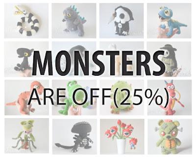 Krawka: Monsters Are off Halloween Sale amigurumi crochet geek pattern instruction by Krawka