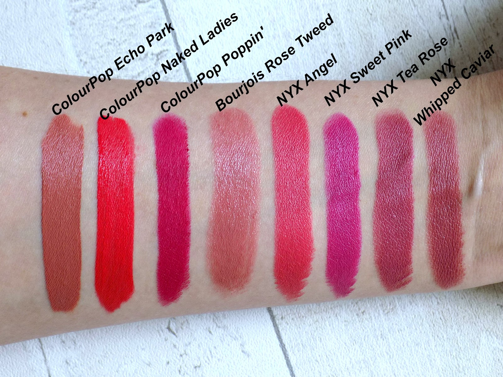 Summer lipsticks swatches