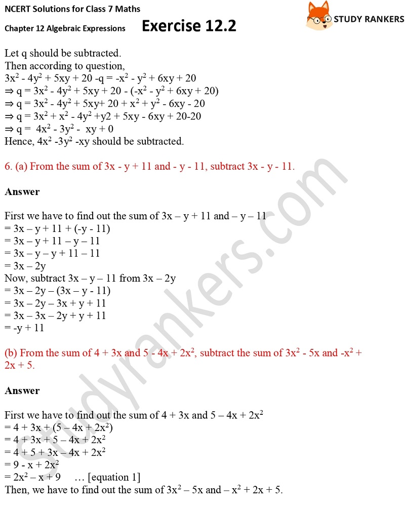 NCERT Solutions for Class 7 Maths Ch 12 Algebraic Expressions Exercise 12.2 8