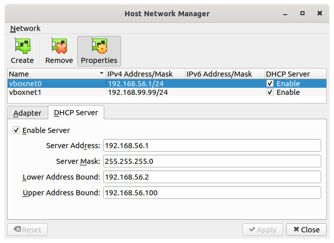 Figure 25: Host-Only DHCP settings
