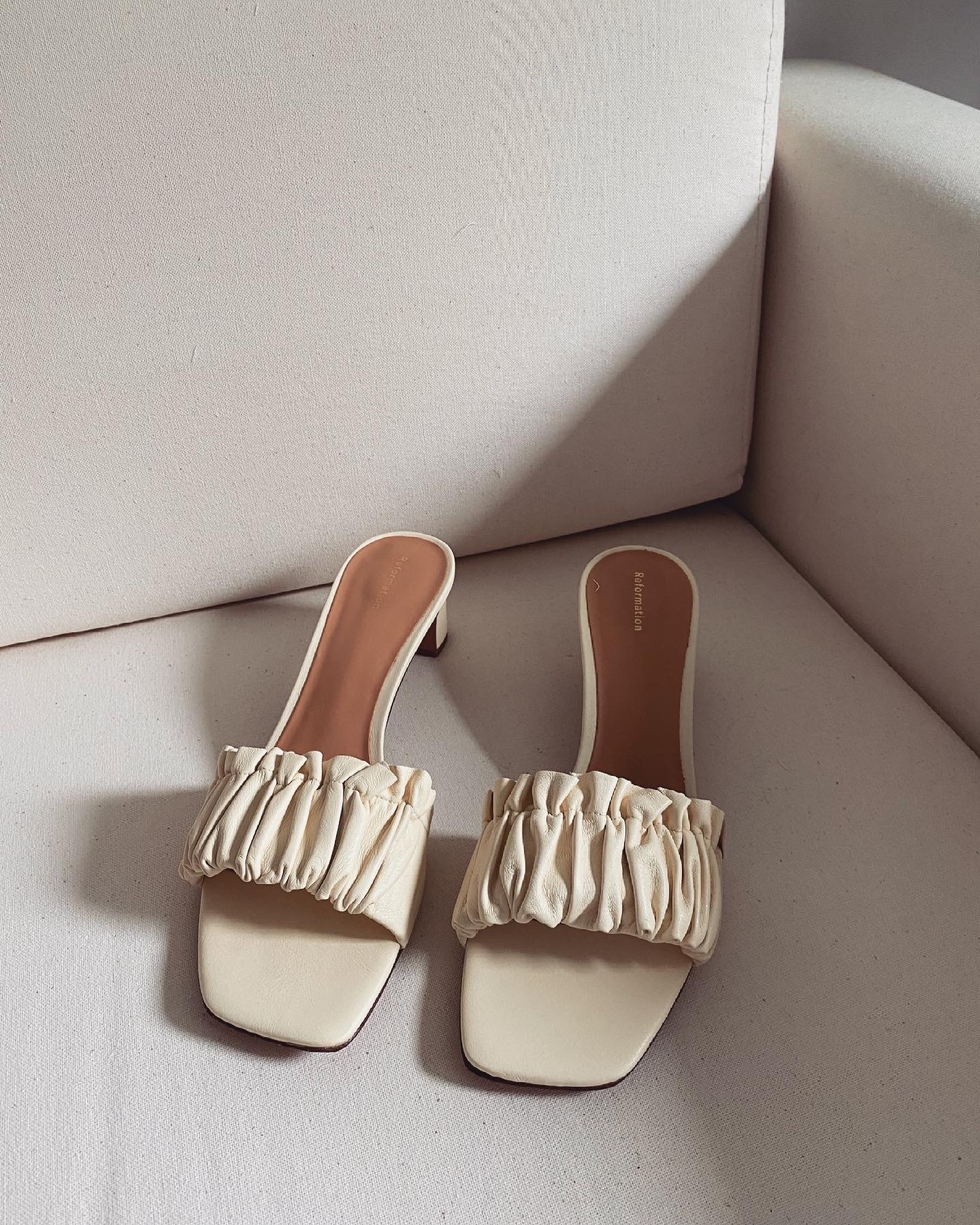 Reformation Shereen Ruched Block Heel Sandals