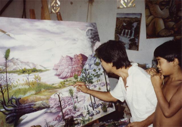 Luís Karimai e filho - Ateliê de pintura