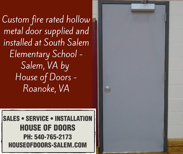 Custom fire rated hollow metal door supplied and installed at South Salem Elementary School - Salem, VA by  House of Doors - Roanoke, VA